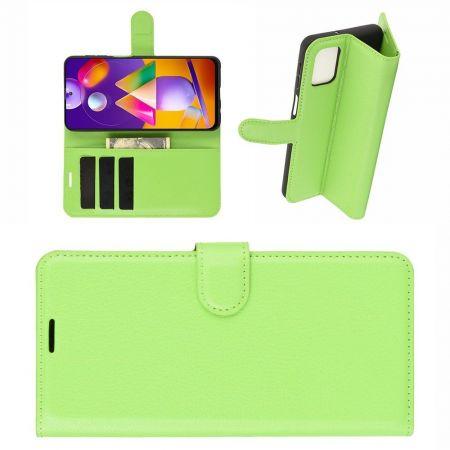 Боковая Чехол Книжка Кошелек с Футляром для Карт и Застежкой Магнитом для Samsung Galaxy M31s Зеленый