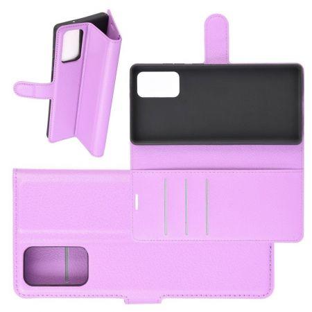 Боковая Чехол Книжка Кошелек с Футляром для Карт и Застежкой Магнитом для Samsung Galaxy Note 20 Фиолетовый