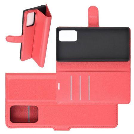 Боковая Чехол Книжка Кошелек с Футляром для Карт и Застежкой Магнитом для Samsung Galaxy Note 20 Красный