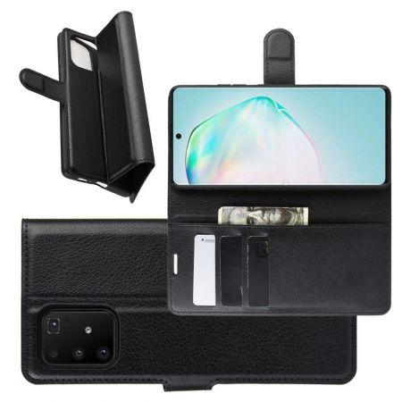 Боковая Чехол Книжка Кошелек с Футляром для Карт и Застежкой Магнитом для Samsung Galaxy S10 Lite Черный