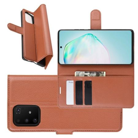 Боковая Чехол Книжка Кошелек с Футляром для Карт и Застежкой Магнитом для Samsung Galaxy S10 Lite Коричневый