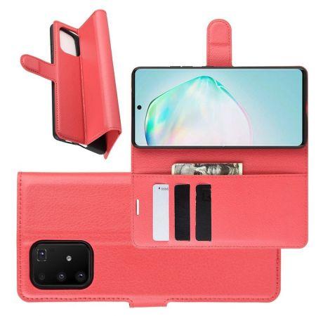 Боковая Чехол Книжка Кошелек с Футляром для Карт и Застежкой Магнитом для Samsung Galaxy S10 Lite Красный