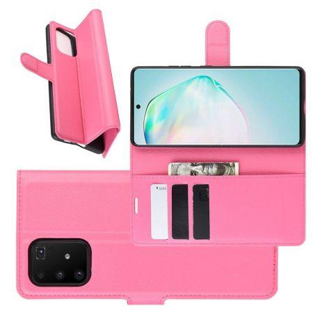 Боковая Чехол Книжка Кошелек с Футляром для Карт и Застежкой Магнитом для Samsung Galaxy S10 Lite Розовый