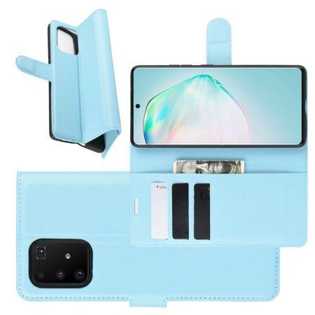 Боковая Чехол Книжка Кошелек с Футляром для Карт и Застежкой Магнитом для Samsung Galaxy S10 Lite Синий