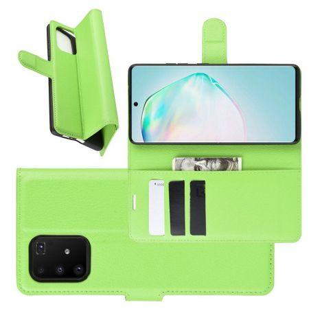 Боковая Чехол Книжка Кошелек с Футляром для Карт и Застежкой Магнитом для Samsung Galaxy S10 Lite Зеленый