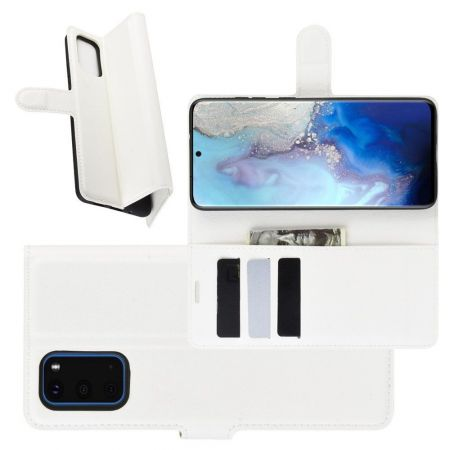 Боковая Чехол Книжка Кошелек с Футляром для Карт и Застежкой Магнитом для Samsung Galaxy S20 Белый