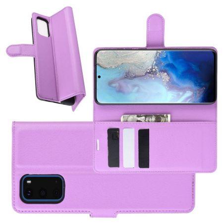 Боковая Чехол Книжка Кошелек с Футляром для Карт и Застежкой Магнитом для Samsung Galaxy S20 Фиолетовый
