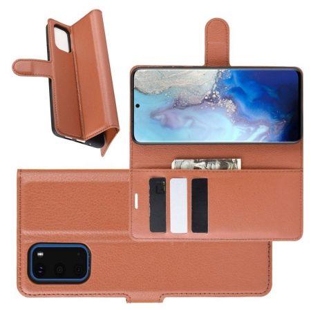 Боковая Чехол Книжка Кошелек с Футляром для Карт и Застежкой Магнитом для Samsung Galaxy S20 Коричневый