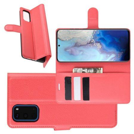 Боковая Чехол Книжка Кошелек с Футляром для Карт и Застежкой Магнитом для Samsung Galaxy S20 Красный