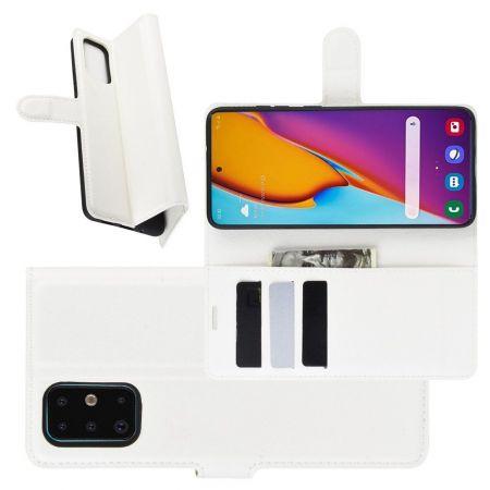 Боковая Чехол Книжка Кошелек с Футляром для Карт и Застежкой Магнитом для Samsung Galaxy S20 Plus Белый