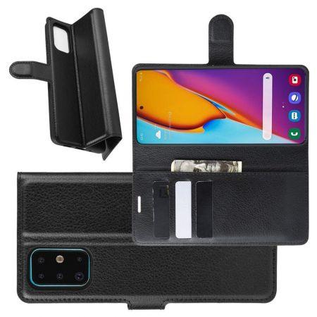 Боковая Чехол Книжка Кошелек с Футляром для Карт и Застежкой Магнитом для Samsung Galaxy S20 Plus Черный