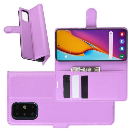 Боковая Чехол Книжка Кошелек с Футляром для Карт и Застежкой Магнитом для Samsung Galaxy S20 Plus Фиолетовый