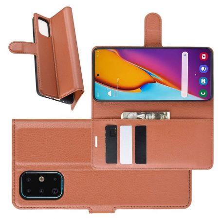 Боковая Чехол Книжка Кошелек с Футляром для Карт и Застежкой Магнитом для Samsung Galaxy S20 Plus Коричневый