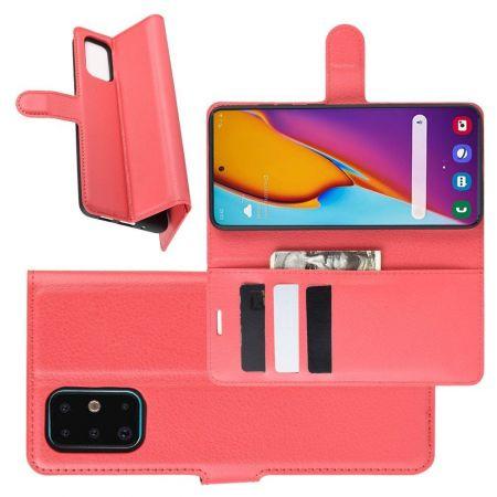 Боковая Чехол Книжка Кошелек с Футляром для Карт и Застежкой Магнитом для Samsung Galaxy S20 Plus Красный