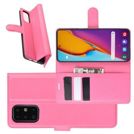 Боковая Чехол Книжка Кошелек с Футляром для Карт и Застежкой Магнитом для Samsung Galaxy S20 Plus Розовый