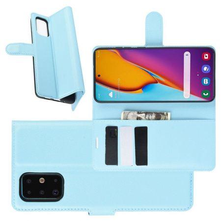 Боковая Чехол Книжка Кошелек с Футляром для Карт и Застежкой Магнитом для Samsung Galaxy S20 Plus Синий