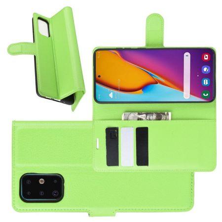 Боковая Чехол Книжка Кошелек с Футляром для Карт и Застежкой Магнитом для Samsung Galaxy S20 Plus Зеленый