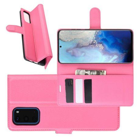 Боковая Чехол Книжка Кошелек с Футляром для Карт и Застежкой Магнитом для Samsung Galaxy S20 Розовый