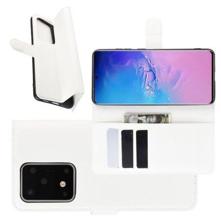Боковая Чехол Книжка Кошелек с Футляром для Карт и Застежкой Магнитом для Samsung Galaxy S20 Ultra Белый