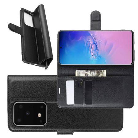 Боковая Чехол Книжка Кошелек с Футляром для Карт и Застежкой Магнитом для Samsung Galaxy S20 Ultra Черный