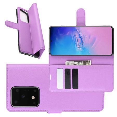 Боковая Чехол Книжка Кошелек с Футляром для Карт и Застежкой Магнитом для Samsung Galaxy S20 Ultra Фиолетовый