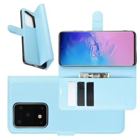 Боковая Чехол Книжка Кошелек с Футляром для Карт и Застежкой Магнитом для Samsung Galaxy S20 Ultra Голубой