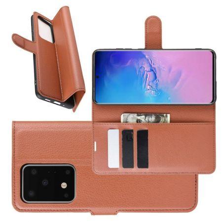 Боковая Чехол Книжка Кошелек с Футляром для Карт и Застежкой Магнитом для Samsung Galaxy S20 Ultra Коричневый