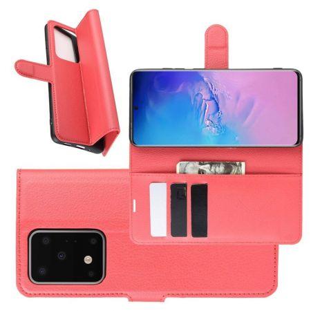 Боковая Чехол Книжка Кошелек с Футляром для Карт и Застежкой Магнитом для Samsung Galaxy S20 Ultra Красный
