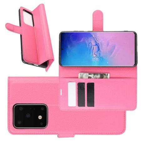Боковая Чехол Книжка Кошелек с Футляром для Карт и Застежкой Магнитом для Samsung Galaxy S20 Ultra Розовый
