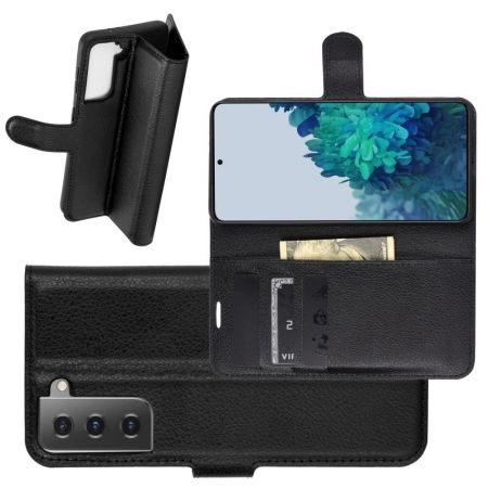 Боковая Чехол Книжка Кошелек с Футляром для Карт и Застежкой Магнитом для Samsung Galaxy S21 Plus / S21+ Черный