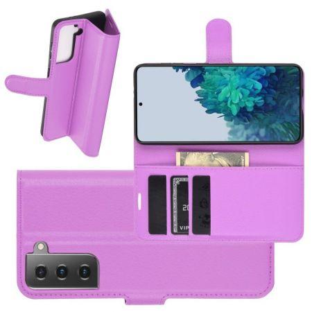 Боковая Чехол Книжка Кошелек с Футляром для Карт и Застежкой Магнитом для Samsung Galaxy S21 Plus / S21+ Фиолетовый