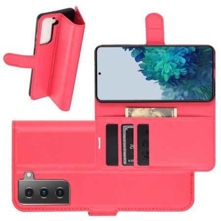 Боковая Чехол Книжка Кошелек с Футляром для Карт и Застежкой Магнитом для Samsung Galaxy S21 Plus / S21+ Красный