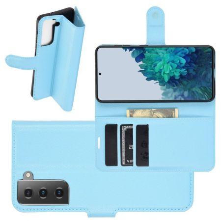 Боковая Чехол Книжка Кошелек с Футляром для Карт и Застежкой Магнитом для Samsung Galaxy S21 Plus / S21+ Синий