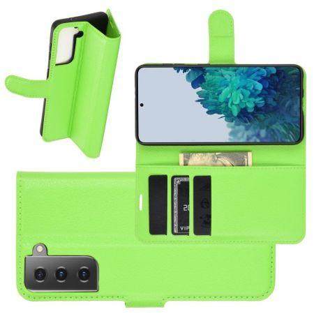 Боковая Чехол Книжка Кошелек с Футляром для Карт и Застежкой Магнитом для Samsung Galaxy S21 Plus / S21+ Зеленый