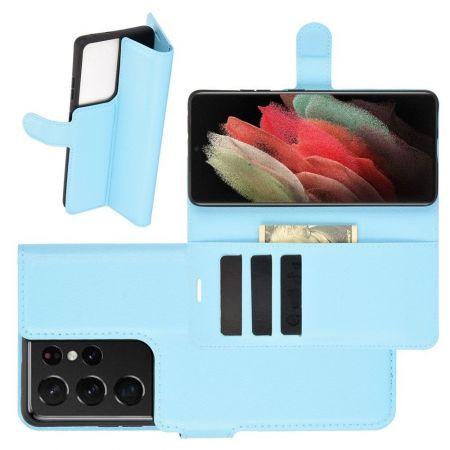 Боковая Чехол Книжка Кошелек с Футляром для Карт и Застежкой Магнитом для Samsung Galaxy S21 Ultra Синий
