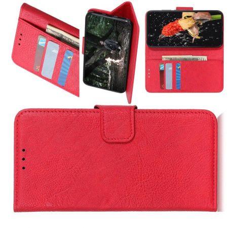 Боковая Чехол Книжка Кошелек с Футляром для Карт и Застежкой Магнитом для Sony Xperia 1 II Красный