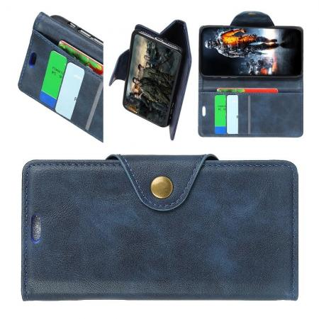 Боковая Чехол Книжка Кошелек с Футляром для Карт и Застежкой Магнитом для Sony Xperia XA2 Plus Синий