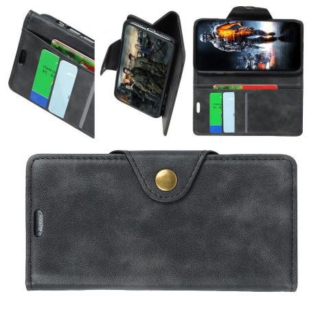 Боковая Чехол Книжка Кошелек с Футляром для Карт и Застежкой Магнитом для Sony Xperia 10 Plus Черный