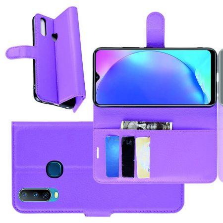 Боковая Чехол Книжка Кошелек с Футляром для Карт и Застежкой Магнитом для Vivo Y12 / Y15 / Y17 Фиолетовый