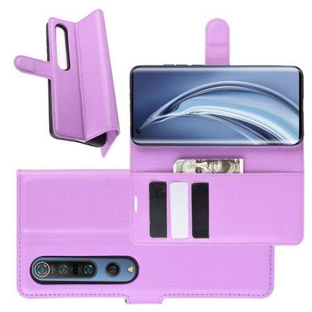 Боковая Чехол Книжка Кошелек с Футляром для Карт и Застежкой Магнитом для Xiaomi Mi 10 / Mi 10 Pro / 10 Pro Фиолетовый