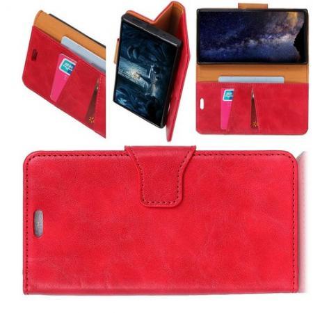 Боковая Чехол Книжка Кошелек с Футляром для Карт и Застежкой Магнитом для Xiaomi Mi 8 Lite Красный