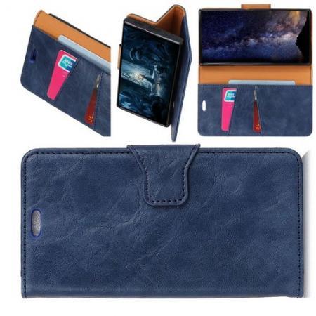 Боковая Чехол Книжка Кошелек с Футляром для Карт и Застежкой Магнитом для Xiaomi Mi 8 Lite Синий