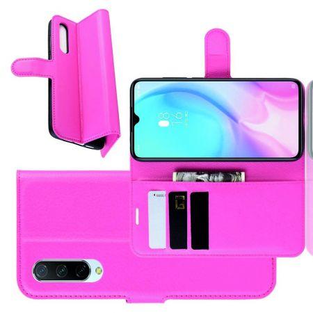 Боковая Чехол Книжка Кошелек с Футляром для Карт и Застежкой Магнитом для Xiaomi Mi 9 Lite Розовый