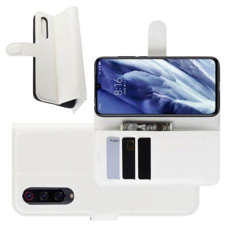 Боковая Чехол Книжка Кошелек с Футляром для Карт и Застежкой Магнитом для Xiaomi Mi 9 Pro Белый