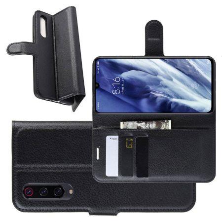 Боковая Чехол Книжка Кошелек с Футляром для Карт и Застежкой Магнитом для Xiaomi Mi 9 Pro Черный