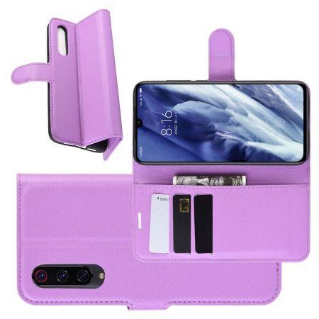 Боковая Чехол Книжка Кошелек с Футляром для Карт и Застежкой Магнитом для Xiaomi Mi 9 Pro Фиолетовый