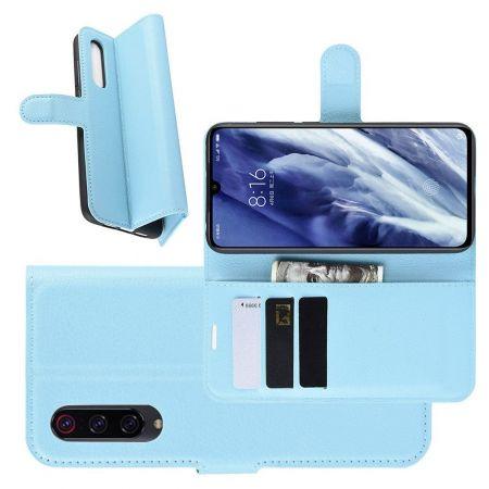 Боковая Чехол Книжка Кошелек с Футляром для Карт и Застежкой Магнитом для Xiaomi Mi 9 Pro Голубой