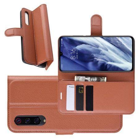 Боковая Чехол Книжка Кошелек с Футляром для Карт и Застежкой Магнитом для Xiaomi Mi 9 Pro Коричневый