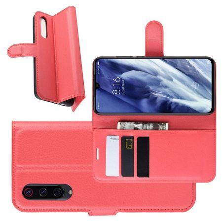 Боковая Чехол Книжка Кошелек с Футляром для Карт и Застежкой Магнитом для Xiaomi Mi 9 Pro Красный