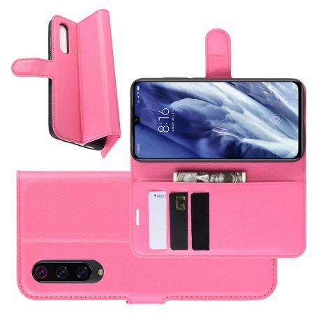 Боковая Чехол Книжка Кошелек с Футляром для Карт и Застежкой Магнитом для Xiaomi Mi 9 Pro Розовый